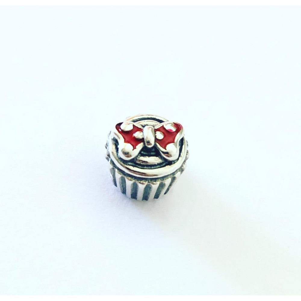 PG-261 Berloque Cupcak Minnie Laço Vermelho
