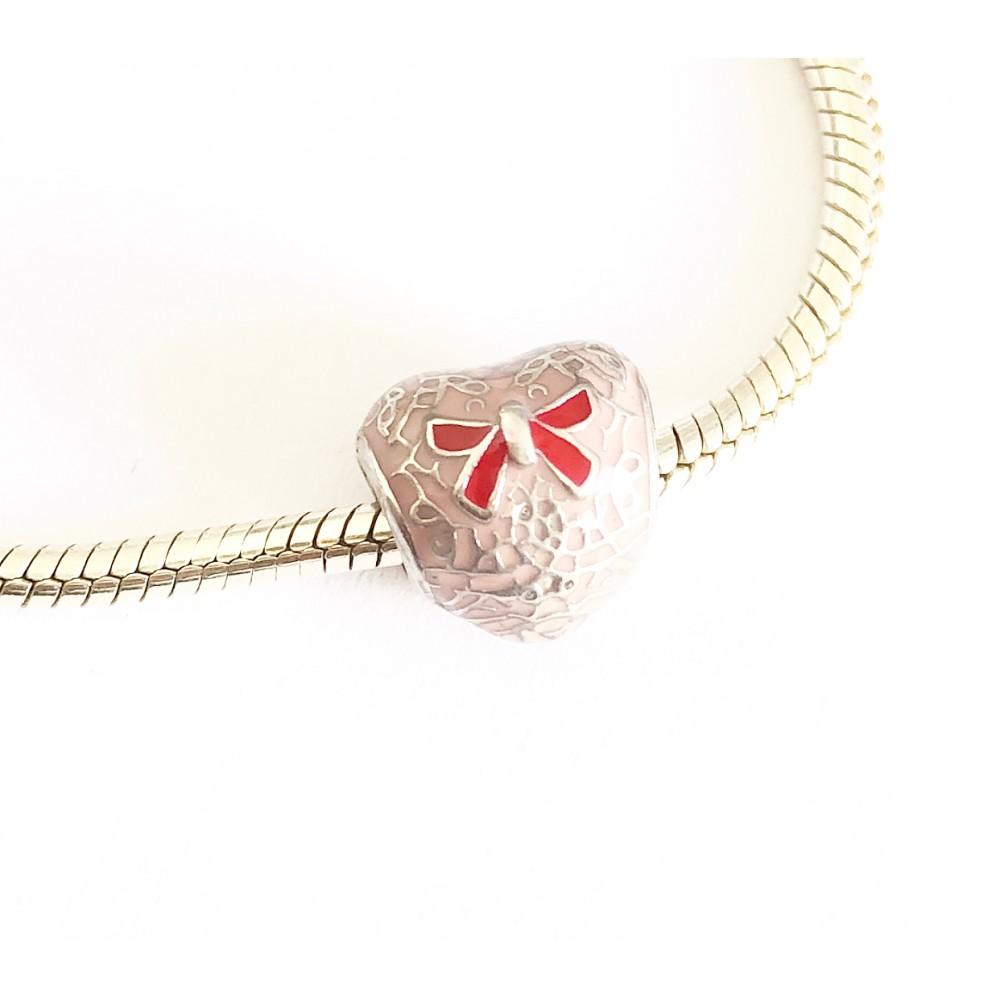 BE-95 Berloque Coração em Laço Prata e Esmalte