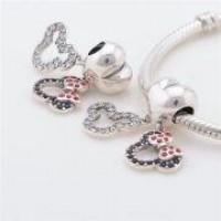 PG-369 Pingente Ratinhos In Love Em Prata 925 Com Zirconias Pretas  Vermelhas e Brancas