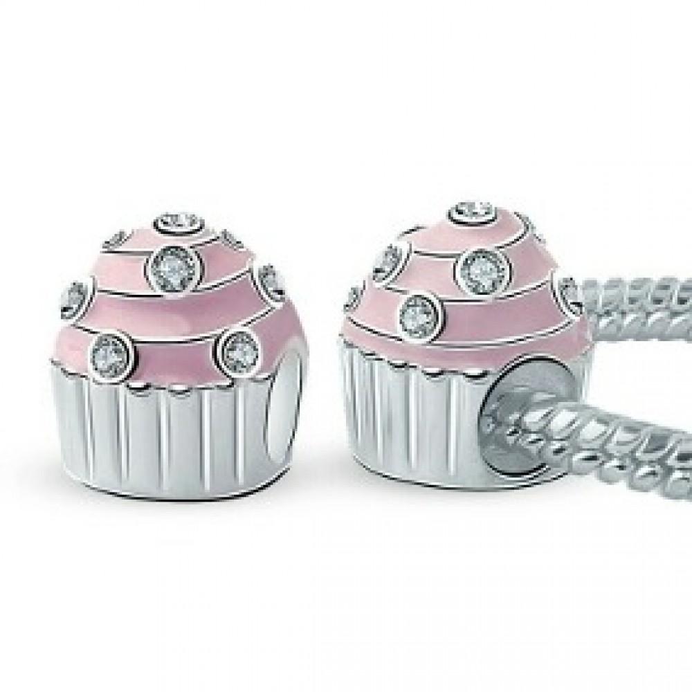 BE-118 Berloque Cupcake Em Prata 925 E Esmalte Rosa e Zieconias