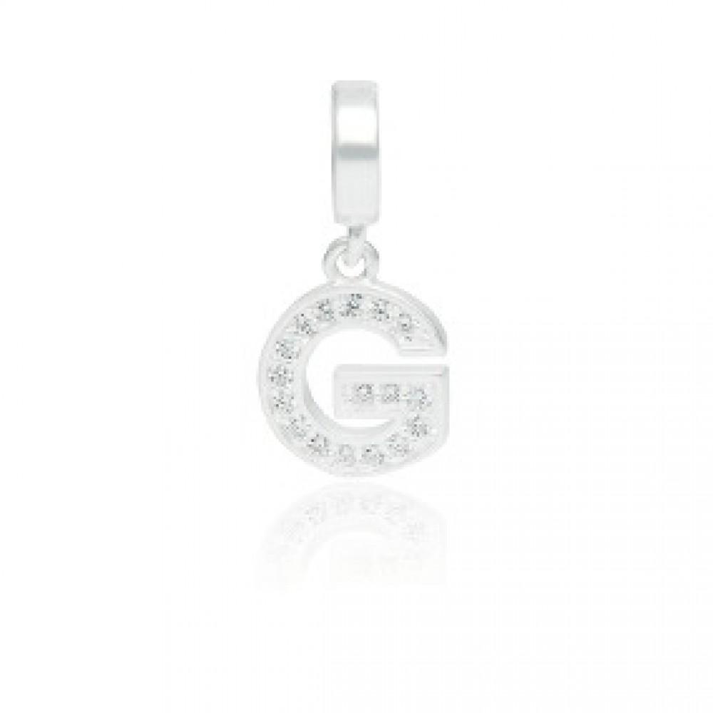 PG-198 Pingente Letra G em Prata e Zirconias