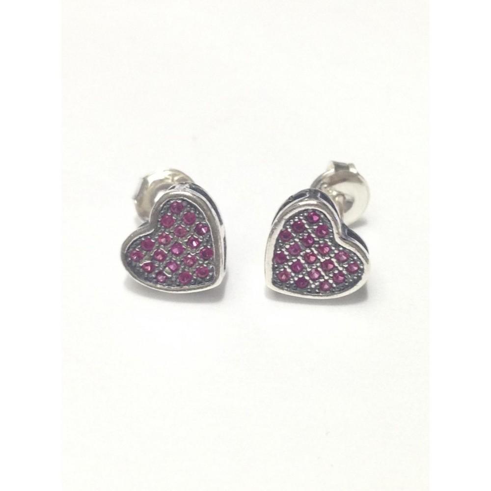 Br-22 Brincos Coração em Prata e Zirconias Rosa
