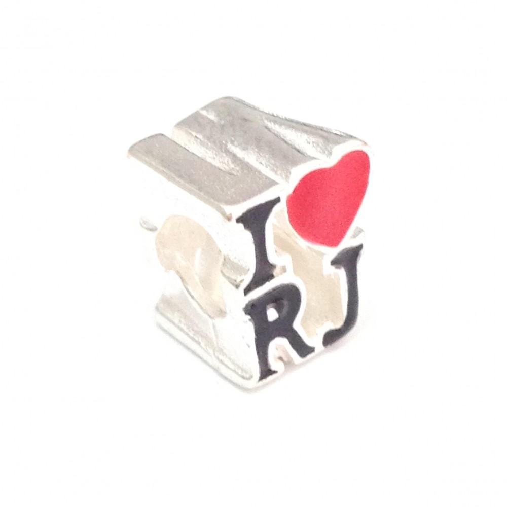 BE-167 Berloque I Love RJ em Prata 925 e Esmalte