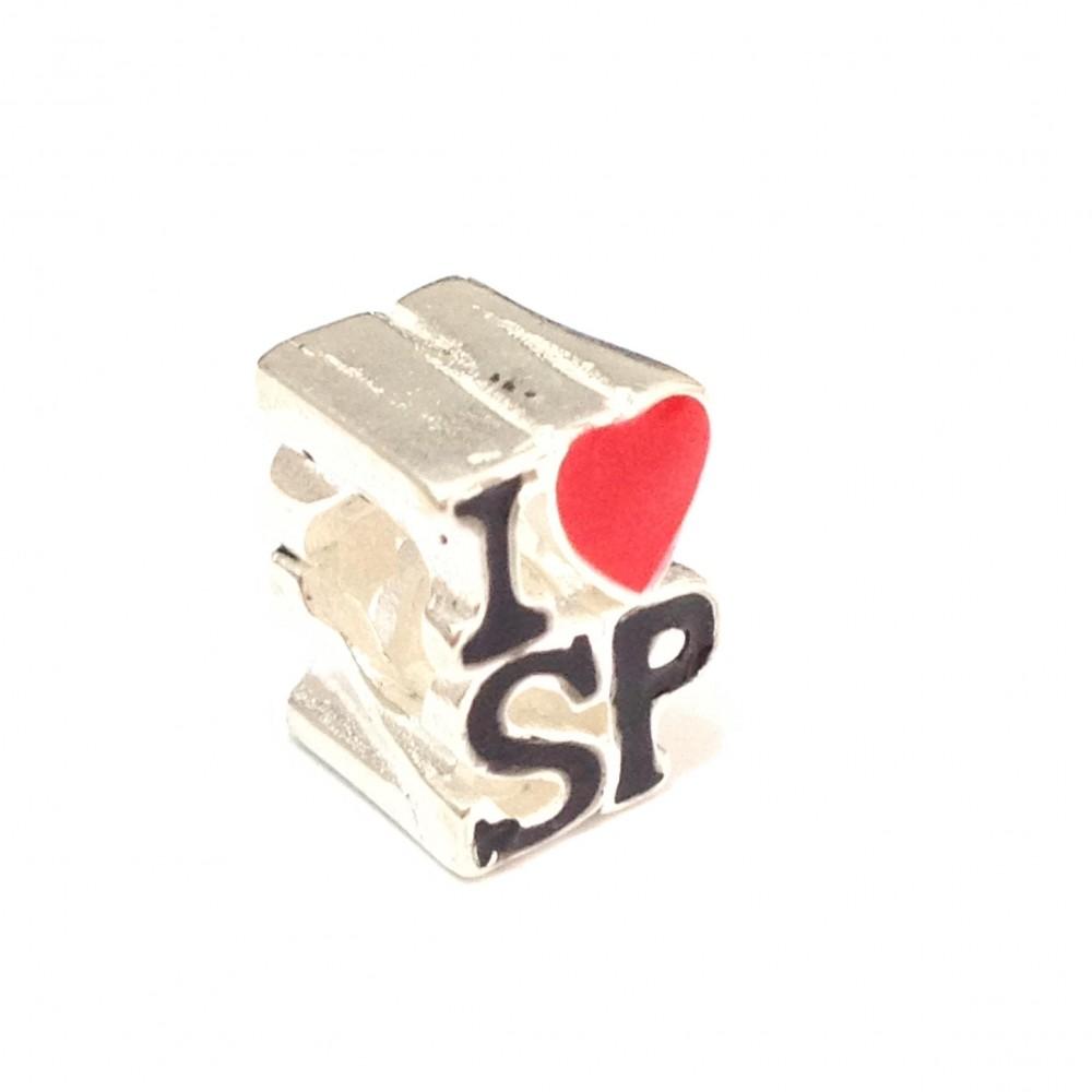 BE-169 Berloque I Love SP em Prata 925 e Esmalte