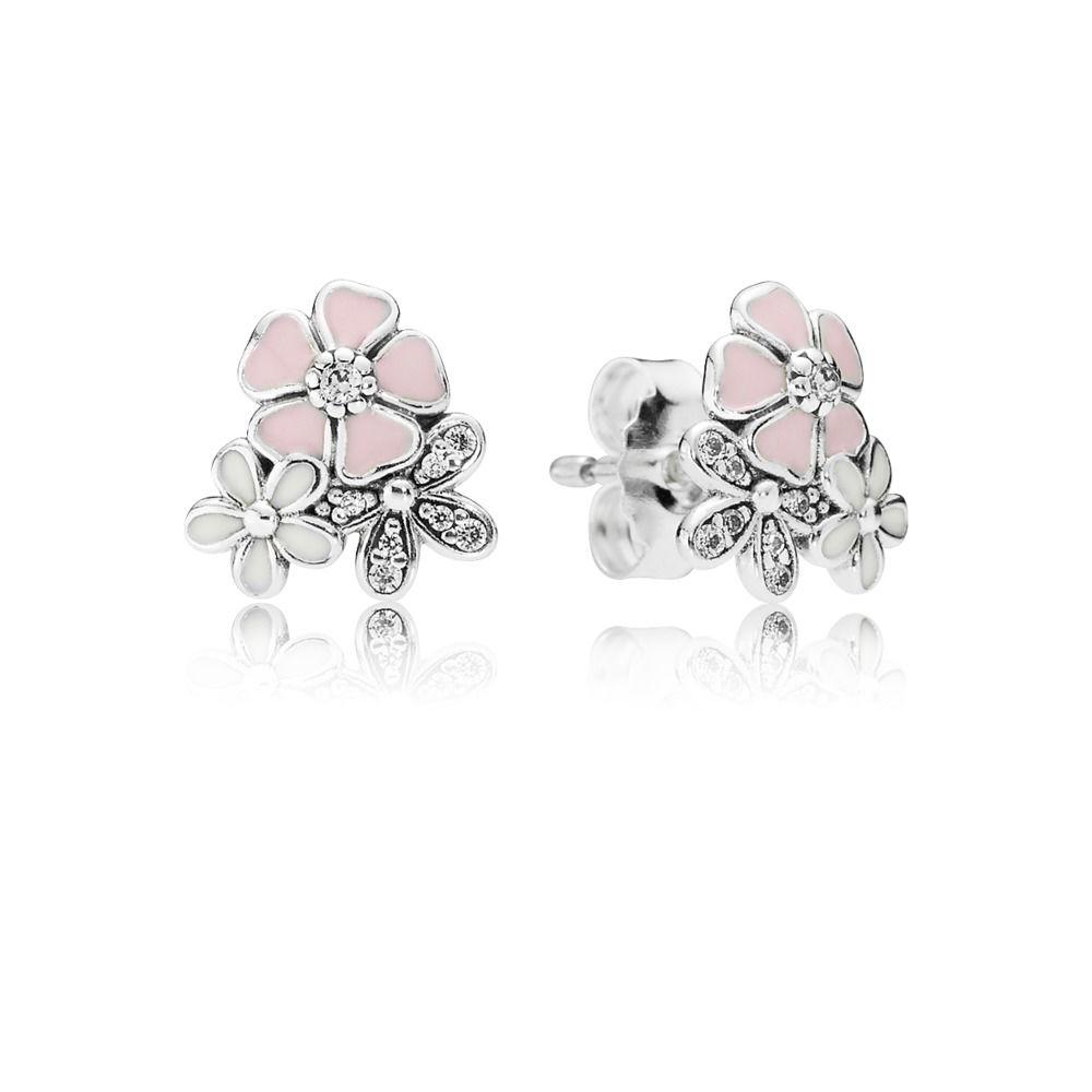 Br-01 Brincos   Flores  Em Prata 925 e Zirconais Brancas