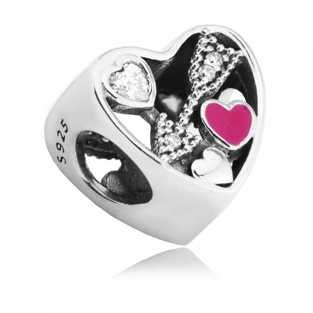 BE-82 Berloque Coração /Flecha do Amor em Prata 925 e zirconias