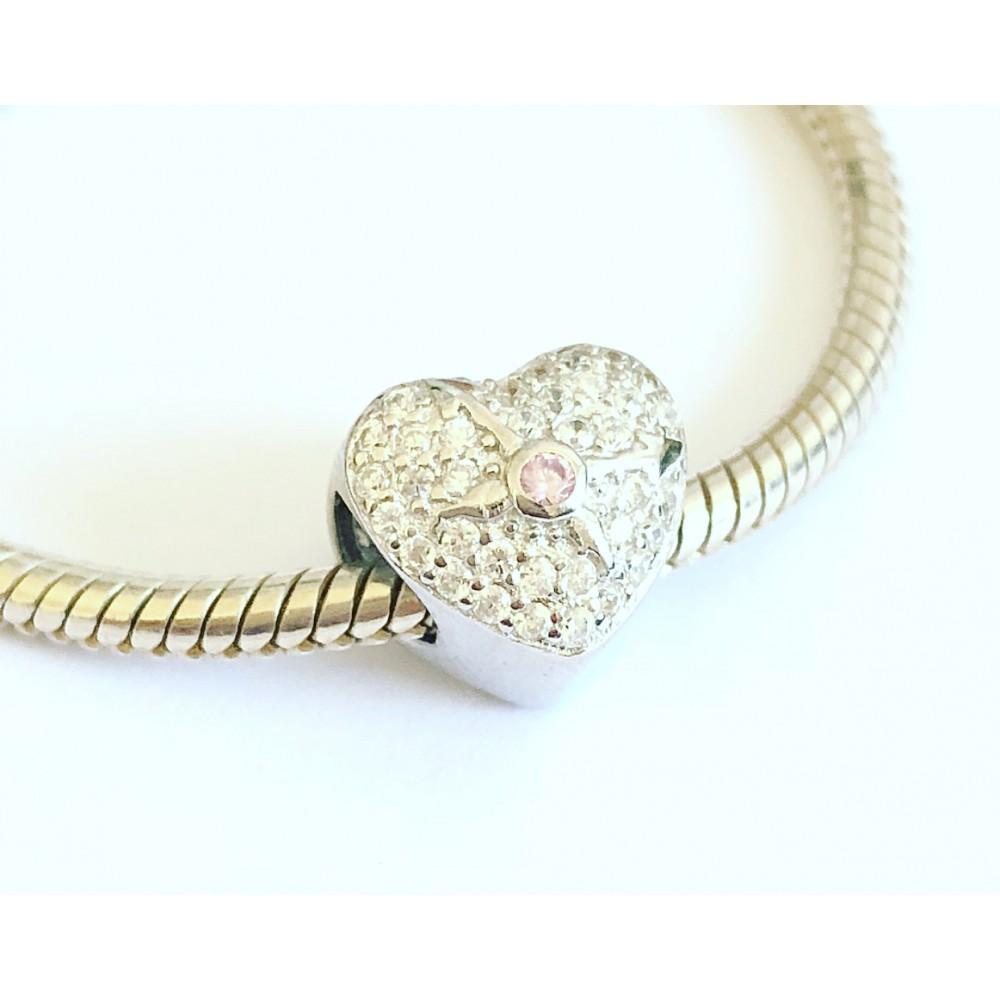 BE-212 Berloque Lindo Coração Zirconias Brancas e Rosa prata 925