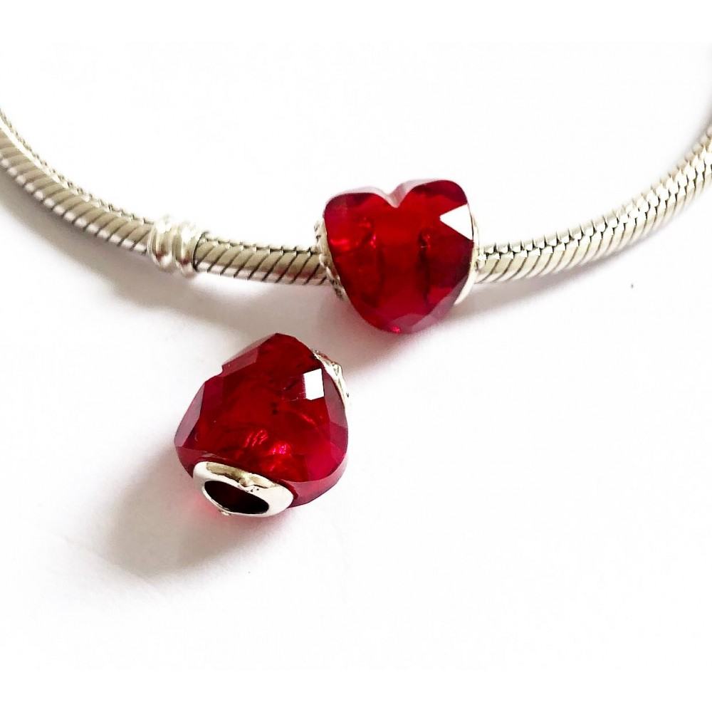 BE-98 Berloque Coração Facetado Vermelho Prata 925