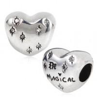BE-93 Berloque Coração E Magia em Prata Prata E Zirconias