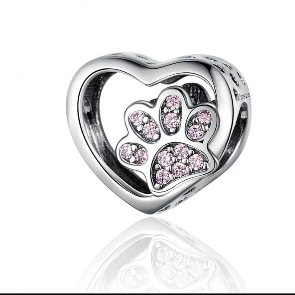 Berloque Coração Patinhas em Prata 925
