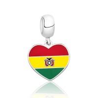 Pingente I Love Bolívia em Prata e Esmalte