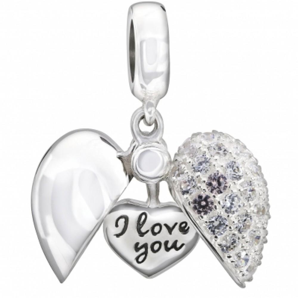 PG-96 Pingente Coração  Love Prata e Zirconias