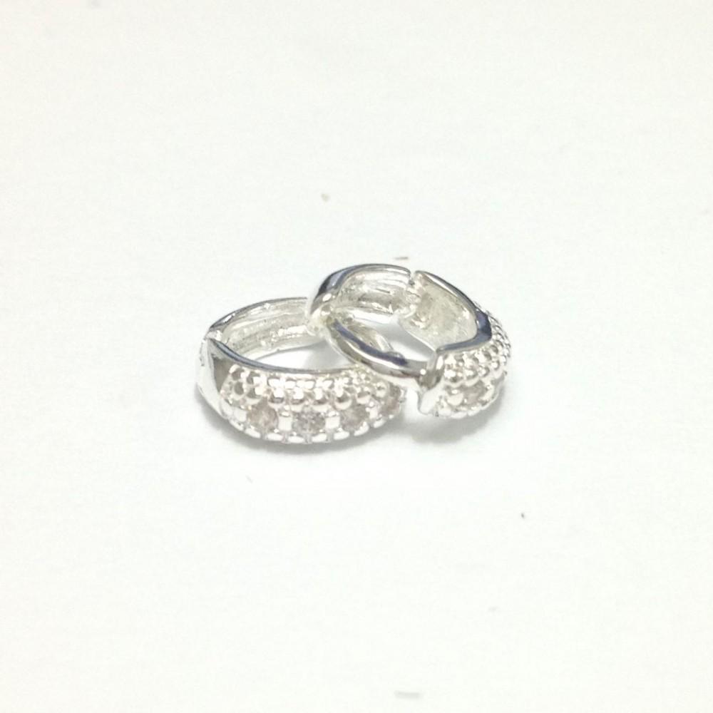 Br-07 Brincos Argolas Pequenas em Prata 925 e Zirconias