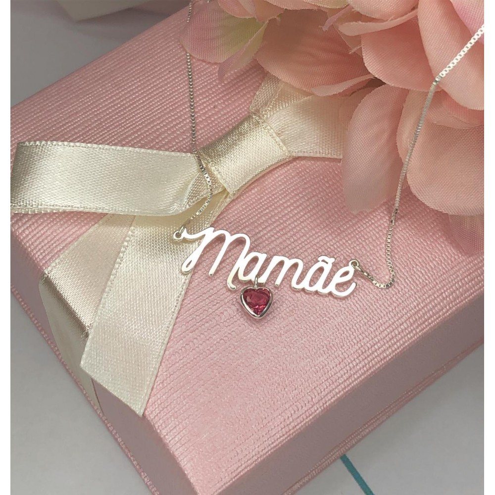 Gargantilha Mamãe em Prata 925 Zirconia Rosa