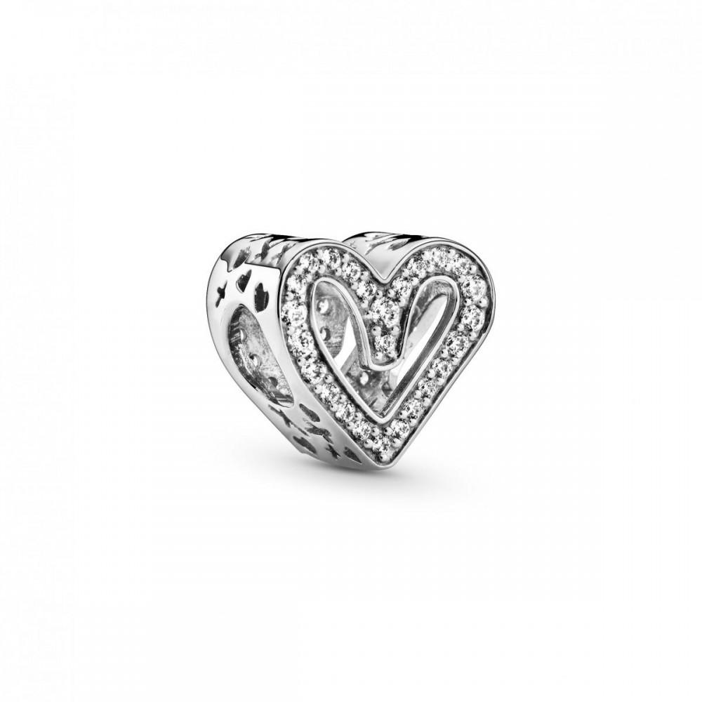 Berloque Coração Vazado Zirconias Prata 925