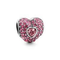BE-376 Berloque Romântico Coração em Prata com Zircônias Rosa