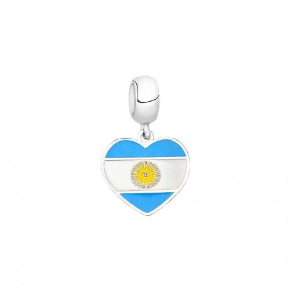 PG-171 Pingente In love Argentina Prata /Esmalte