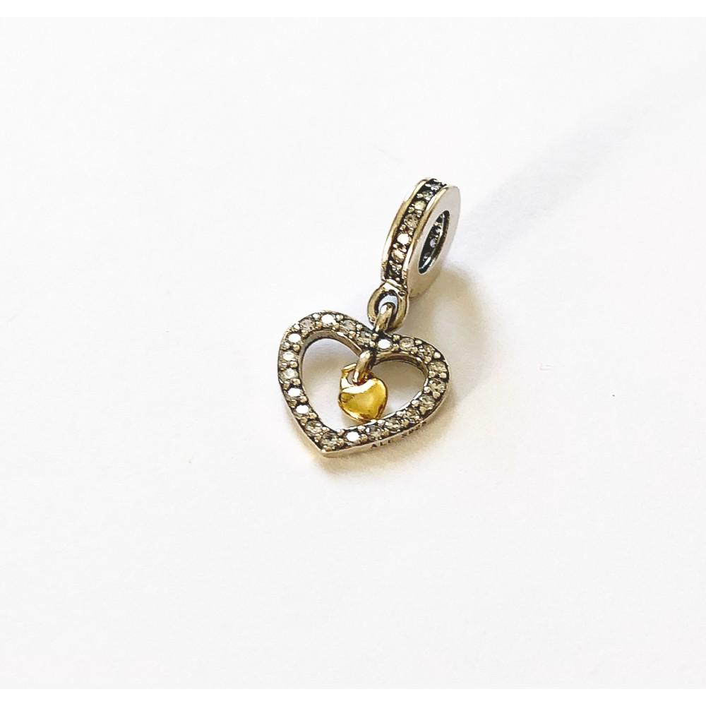 PG-97 Pingente Coração Em Prata e Zirconias Brancas