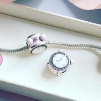 Berloque Love Clock Rosa Prata