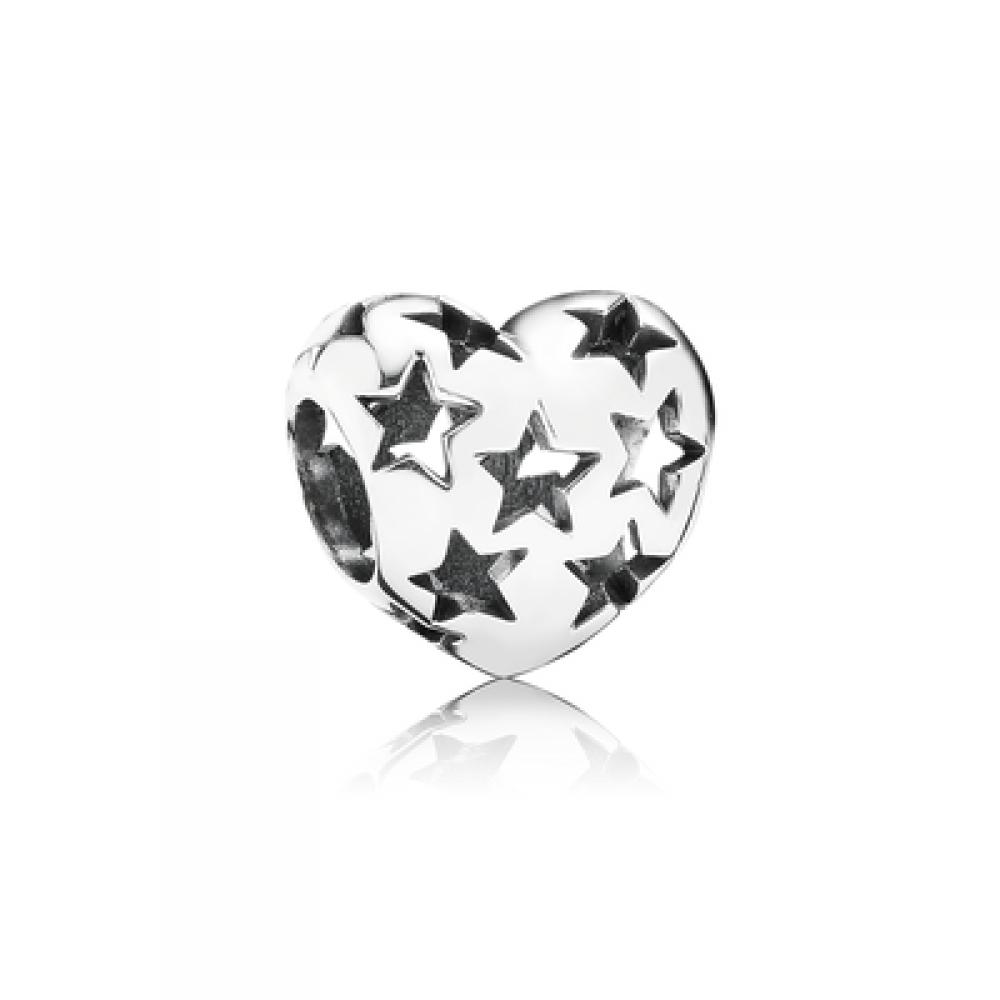 BE-97 Berloque Coração Estrelado em Prata 925 (Unidade)